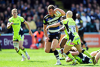 Ollie Devoto of Bath Rugby takes on the Sale Sharks defence. Aviva Premiership match, between Bath Rugby and Sale Sharks on April 23, 2016 at the Recreation Ground in Bath, England. Photo by: Patrick Khachfe / Onside Images