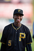 Bristol Pirates shortstop Victor Ngoepe (5) before the second game of a doubleheader against the Bluefield Blue Jays on July 25, 2018 at Bowen Field in Bluefield, Virginia.  Bristol defeated Bluefield 5-2.  (Mike Janes/Four Seam Images)
