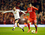 Juan Mata of Manchester United and Emre Can of Liverpool during the UEFA Europa League match at Anfield. Photo credit should read: Philip Oldham/Sportimage via PA Images