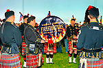 Fundraiser for firefighter Ray Pfeifer - battling cancer after months of recovery efforts at Ground Zero following 9/11 2001 Twin Towers attack - draws supporters from New York, Massachusetts and more, on Saturday, March 31, 2012, at East Meadow Firefighters Benevolent Hall, New York, USA. The Nassau County Firefighters Pipes and Drums band performed. [NOTE: Background tent color altered digitally to blue]