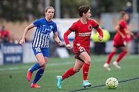 Allston, MA - Sunday, May 1, 2016:  Boston Breakers midfielder Louise Schillgard (10) and Portland Thorns FC defender Meghan Klingenberg (25) in a match at Harvard University.