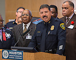 Houston Police Department Chief Daniel Perales comments during a press conference for Project Safe Start, a collaborative program between area ministers, law enforcement and school officials to encourage students to have a safe summer, May 27, 2014.