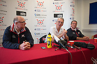 Caversham. Berkshire. UK<br /> Press Conference Top Table. left Paul THOMPSON, David TANNER and Jurgan GROBLER. <br /> 2016 GBRowing European Team Announcement,  <br /> <br /> Wednesday  06/04/2016 <br /> <br /> [Mandatory Credit; Peter SPURRIER/Intersport-images]