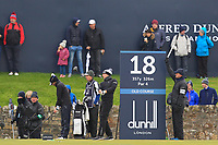 Matt Wallace (ENG) on the 18th tee during round 4 of the Alfred Dunhill Links Championship at Old Course St. Andrew's, Fife, Scotland. 07/10/2018.<br /> Picture Thos Caffrey / Golffile.ie<br /> <br /> All photo usage must carry mandatory copyright credit (&copy; Golffile | Thos Caffrey)
