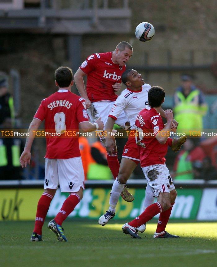 Michael Morrison of Charlton Athletic wins the ball in the air - Charlton Athletic vs Stevenage - nPower League One Football at the Valley, London - 25/02/12 - MANDATORY CREDIT: Helen Watson/TGSPHOTO - Self billing applies where appropriate - 0845 094 6026 - contact@tgsphoto.co.uk - NO UNPAID USE.