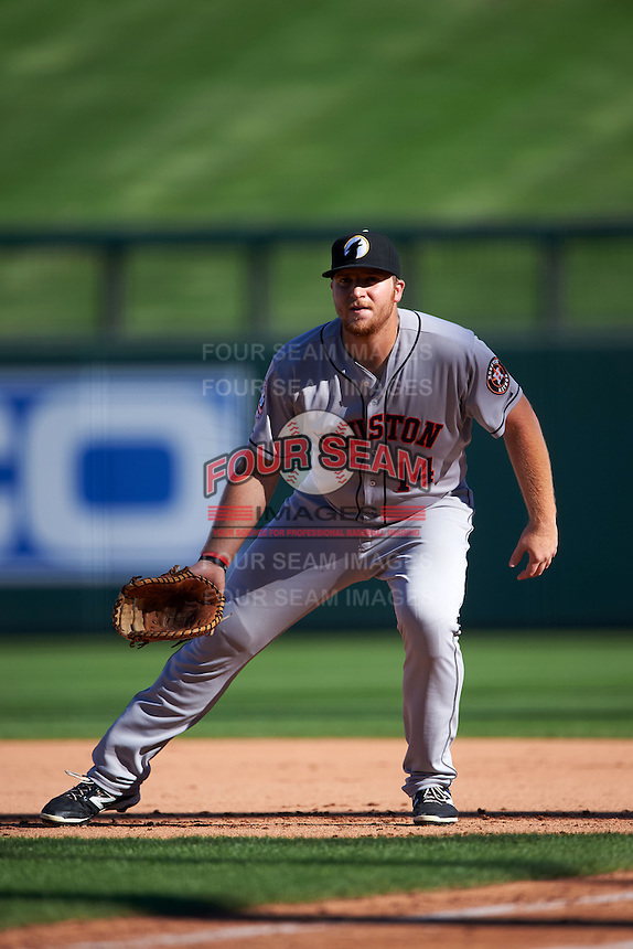 Glendale Desert Dogs first baseman A.J. Reed (14) during an Arizona Fall League game against the Surprise Saguaros on October 23, 2015 at Salt River Fields at Talking Stick in Scottsdale, Arizona.  Glendale defeated Surprise 9-6.  (Mike Janes/Four Seam Images)