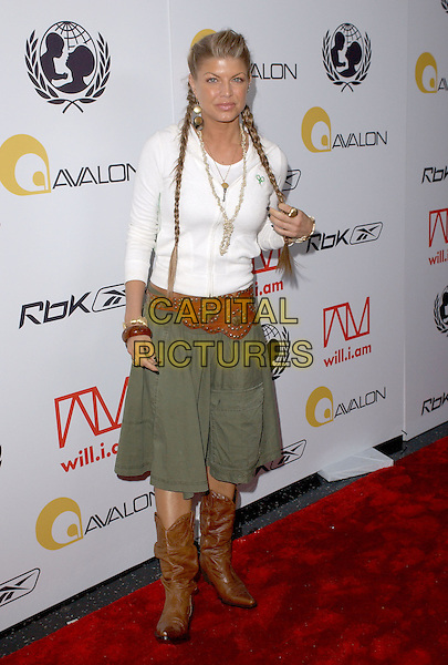 FERGIE - STACY FERGUSON - BLACK EYED PEAS.Will.i.am Music Group and RBK's Tsunami Relief Benefit Concert held at Avalon in Hollywood, California .February 11th, 2005.full length cowboy boots green skirt brown studded belt white top braids plaits hair.www.capitalpictures.com.sales@capitalpictures.com.Supplied By Capital PIctures