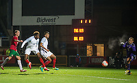 Dujon Sterling (Chelsea) of England U19 heads in a last minute of injury time winning goal during the International friendly match between England U19 and Bulgaria U19 at Adams Park, High Wycombe, England on 10 October 2016. Photo by Andy Rowland.
