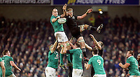 19th November 2016 | IRELAND vs NEW ZEALAND<br /> <br /> Devin Toner beats Kieran Read to the ball during the Autumn Series International clash between Ireland and New Zealand at the Aviva Stadium, Lansdowne Road, Dublin,  Ireland. Photo by John Dickson/DICKSONDIGITAL