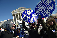 Washington, DC - January 22, 2014:  Protestors in favor of abortion rights gather in front of the U.S. Supreme Court as the March for Life passes by them, January 22, 2014. (Photo by Don Baxter/Media Images International)