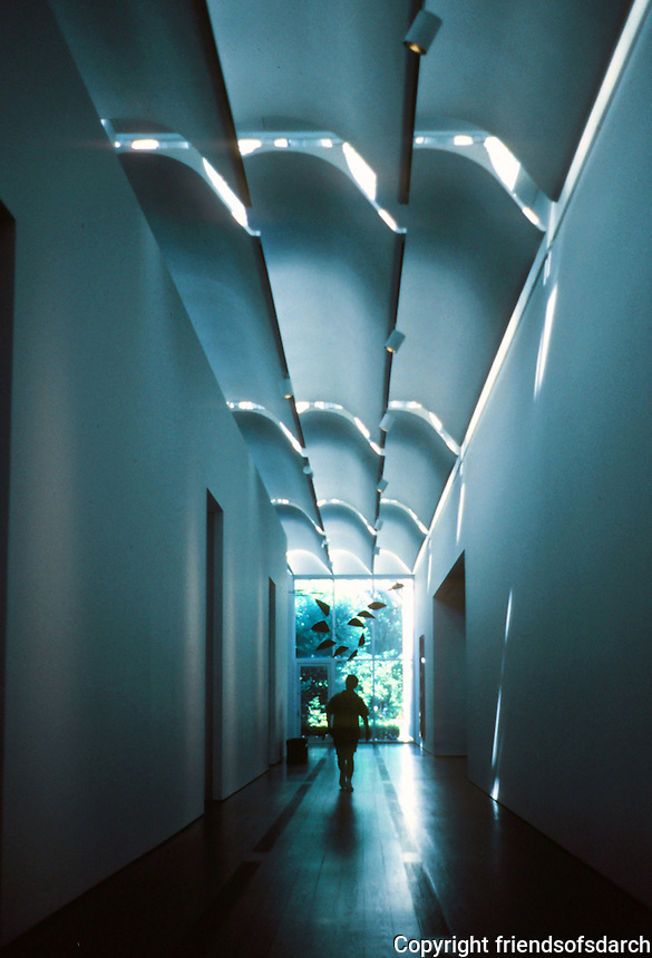 Renzo Piano: The Menil Collection. Interior--the hall extends the length of the building, bisecting the galleries.