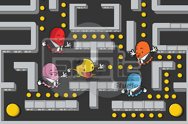 Businessmen in Pac-Man game maze