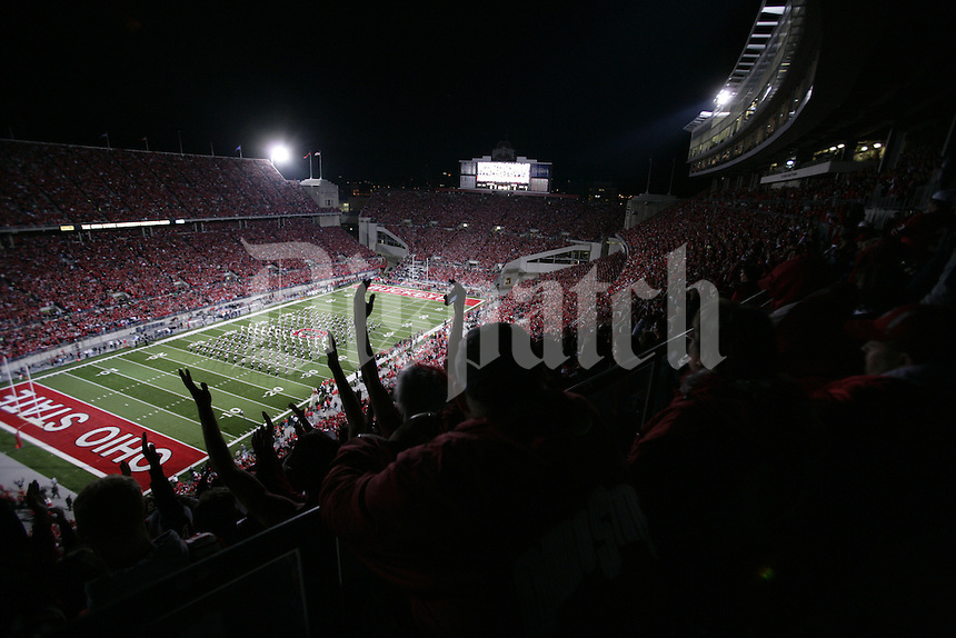 Ohio State's marching band takes the field. Penn State University vs. Ohio State in Columbus, Ohio October 25, 2008 at Ohio Stadium. (Dispatch photo by Craig Holman)