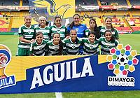 BOGOTÁ-COLOMBIA, 11–08-2019: Jugadoras de La Equidad, posan para una foto, antes de partido de la fecha 5 entre Independiente Santa Fe y La Equidad, por la Liga Águila Femenina, jugado en el estadio Nemesio Camacho El Campín de la ciudad de Bogotá. / Players of La Equidad, pose for a photo, prior a match of the 5th date between Independiente Santa Fe and La Equidad, for the 2019 Women's Aguila League played at the Nemesio Camacho El Campin Stadium in Bogota city, Photo: VizzorImage / Luis Ramírez / Staff.