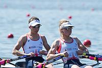 Brandenburg. GERMANY. GBW LW2X. Bow Charlotte TAYLOR and Kat COPELAND.<br /> 2016 European Rowing Championships at the Regattastrecke Beetzsee<br /> <br /> Friday  06/05/2016<br /> <br /> [Mandatory Credit; Peter SPURRIER/Intersport-images]