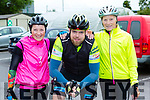 Loreto O'Connor Lixnaw, Cathal King Currow and Nuala Brassel Crotta at the Castleisland Day Care centre cycle on Sunday morning