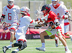 Palos Verdes, CA 03/26/16 - Ryan Crawford (San Clemente #18) and Rizal Smith (Palos Verdes #0) in action during the CIF Boys Lacrosse game between San Clemente Tritons and the Palos Verdes Seakings at Palos Verdes High School.  Palos Verdes defeated San Clemente 11-6
