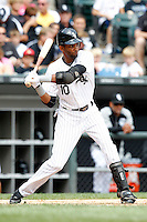 Chicago White Sox Alexei Ramirez #10 during a game against the Kansas City Royals at U.S. Cellular Field on August 14, 2011 in Chicago, Illinois.  Chicago defeated Kansas City 6-2.  (Mike Janes/Four Seam Images)