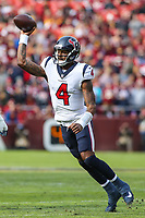 Landover, MD - November 18, 2018: Houston Texans quarterback Deshaun Watson (4) throws a pass during the  game between Houston Texans and Washington Redskins at FedEx Field in Landover, MD.   (Photo by Elliott Brown/Media Images International)