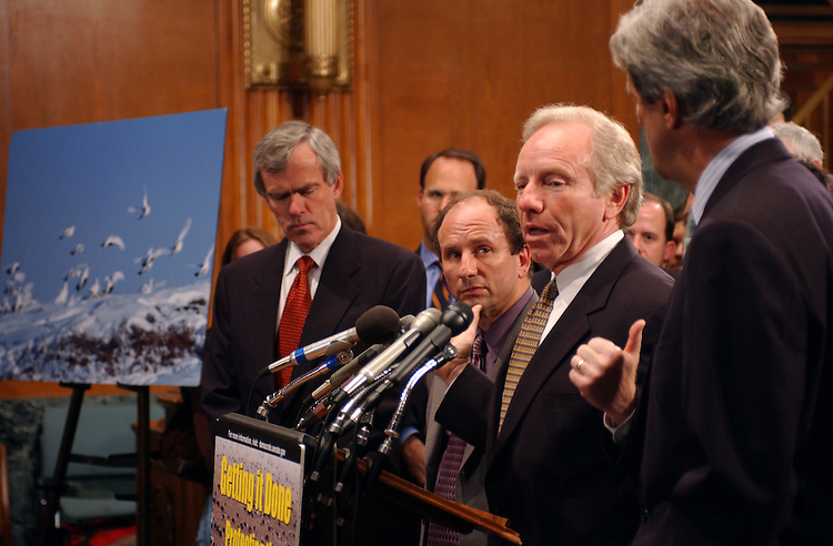ANWR7/041802 -- Jeff Bingaman, D-N.M., Paul Wellstone, D-MN., Joseph Lieberman, D-CT., and John Kerry, D-Mass., during a press conference after the cloture vote on drilling for oil in the Arctic National Wildlife Refuge.