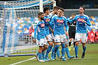 Lorenzo Insigne of Napoli celebrates with team mates after scoring a goal<br /> Napoli 14-01-2020 Stadio San Paolo <br /> Football Italy Cup 2019/2020 SSC Napoli - AC Perugia<br /> Photo Cesare Purini / Insidefoto