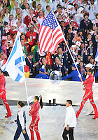 August 12, 2012..Athletes accompanied by flag bearers arrive for the closing ceremony at the Olympic Stadium on the last day of 2012 Olympic Games in London, United Kingdom.