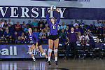 Carly Jimenez (11) of the High Point Panthers sets the ball during the match against the Liberty Flames at the Millis Athletic Center on September 23, 2016 in High Point, North Carolina.  The Panthers defeated the Flames 3-1.   (Brian Westerholt/Sports On Film)