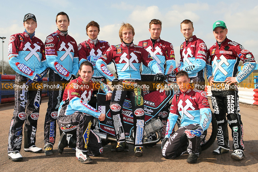 Lakeside Hammers 2009, (standing from L): Kauko Nieminen, Phil Morris, Jonas Davidsson, Adam Shields, Stuart Robson, Joonas Kylmakorpi, Lee Richardson, (kneeling from L): Chris Mills, Rob Mear - Lakeside Hammers Press & Practice Day at Arena Essex Raceway -  17/03/09 - MANDATORY CREDIT: Gavin Ellis/TGSPHOTO - Self billing applies where appropriate - Tel: 0845 094 6026