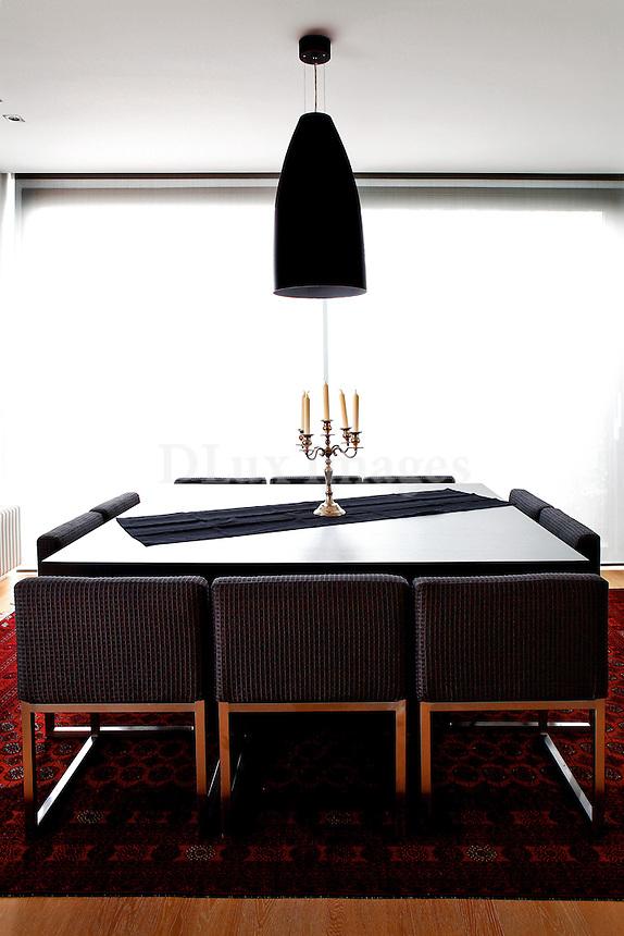 contemporary black dining room