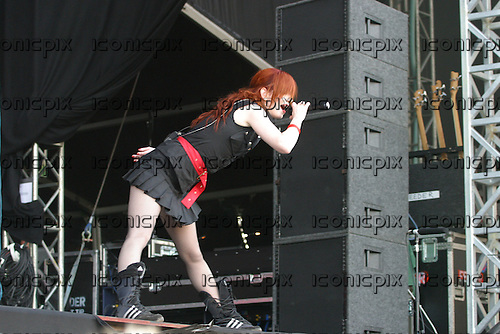 Garbage - vocalist Shirley Manson performing live on the Main Stage on Day One of the 2005 Download Festival at Donington Park UK - 10 Jun 2005.  Photo credit: Tony Woolliscroft/IconicPix