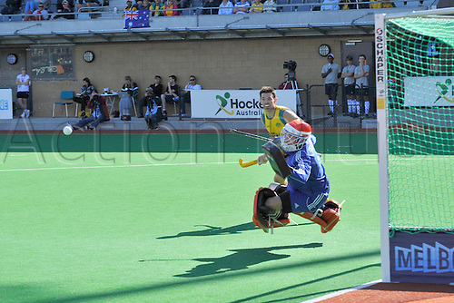 02.12.2012 Melbourne, Australia. Jaap Stockman of the Netherlands saves a shot during the Men's Hockey Champions Trophy from the State Netball Hockey Centre.