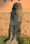 Unfinished Royal statue made from grey granite, probably of Amenhotep III stands in the gardens at the museum in Luxor.The town of Luxor occupies the eastern part of a great city of antiquity which the ancient Egytians called Waset and the Greeks named Thebes.