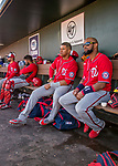 29 February 2020: Washington Nationals outfielder Juan Soto (left) and Spring Training Invitee Emilio Bonifacio, watch play from the dugout during a Spring Training game against the St. Louis Cardinals at Roger Dean Stadium in Jupiter, Florida. The Cardinals defeated the Nationals 6-3 in Grapefruit League play. Mandatory Credit: Ed Wolfstein Photo *** RAW (NEF) Image File Available ***