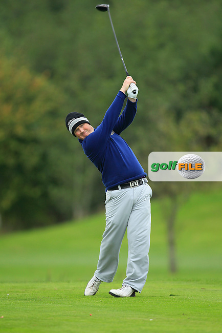 Michael McGeady on the 16th tee during Round 3 of The Cassidy Golf 103rd Irish PGA Championship in Roganstown Golf Club on Saturday 12th October 2013.<br /> Picture:  Thos Caffrey / www.golffile.ie