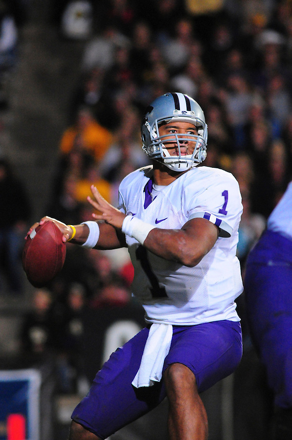 18 October 08: Kansas State quarterback Josh Freeman passes against Colorado. The Colorado Buffaloes defeated the Kansas State Wildcats 14-13 at Folsom Field in Boulder, Colorado.