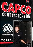 Jan. 16, 2013; Jupiter, FL, USA: Gary Pritchett , a crew member for NHRA top fuel dragster driver Steve Torrence during testing at the PRO Winter Warmup at Palm Beach International Raceway.  Mandatory Credit: Mark J. Rebilas-