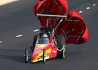 Jul. 19, 2014; Morrison, CO, USA; NHRA top dragster driver XXXX during qualifying for the Mile High Nationals at Bandimere Speedway. Mandatory Credit: Mark J. Rebilas-