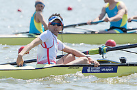 Brandenburg. GERMANY.<br /> GBR M8+. Cox Phelan HILL, at the start for their heat. 2016 European Rowing Championships at the Regattastrecke Beetzsee<br /> <br /> Friday  06/05/2016<br /> <br /> [Mandatory Credit; Peter SPURRIER/Intersport-images]