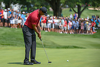 Tiger Woods (USA) watches his putt on 1 during 4th round of the World Golf Championships - Bridgestone Invitational, at the Firestone Country Club, Akron, Ohio. 8/5/2018.<br /> Picture: Golffile | Ken Murray<br /> <br /> <br /> All photo usage must carry mandatory copyright credit (© Golffile | Ken Murray)