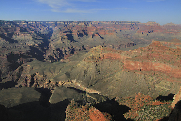 View from Yavapi Point on the South Rim to Cedar Ridge (right) and the South Kaibab Trail on the Tonto Plateau, Grand Canyon National Park, northern Arizona, USA .  John offers private photo tours in Grand Canyon National Park and throughout Arizona, Utah and Colorado. Year-round.