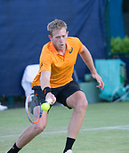 June 13th 2017, Nottingham, England; ATP Aegon Nottingham Open Tennis Tournament day 4; Bryden Klein of Great Britain with a forehand against Alex De Minaur of Australia