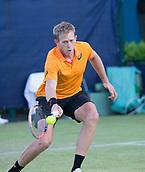 June 13th 2017, Nottingham, England; ATP Aegon Nottingham Open Tennis Tournament day 4; Bryden Klein of Great Britain with a forehand against Alex De Minaur of Australia