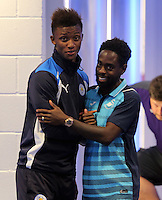 Pictured: Nathan Dyer of Swansea City (R) greets a Leicester player Saturday 27 August 2016<br /> Re: Swansea City FC v Leicester City FC Premier League game at the King Power Stadium, Leicester, England, UK