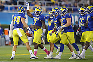 Newark, DE - October 29, 2016: Delaware Fightin Blue Hens defensive back Ryan Torzsa (24) celebrates with his teammates after an interception during game between Towson and Delware at  Delaware Stadium in Newark, DE.  (Photo by Elliott Brown/Media Images International)