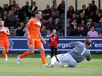 Pictured L-R: Danny Graham of Swansea takes a shot only to be saved by Neath goalkeeper lee Kendall. Saturday 17 July 2011<br />