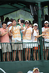 May 8,2011 - Members of Glovers fraternity from Clemson cheer on the former Tiger golfer.  Lucas Glover wins the tournament in sudden death over Jonathan Byrd at Quail Hollow Country Club,Charlotte,NC.