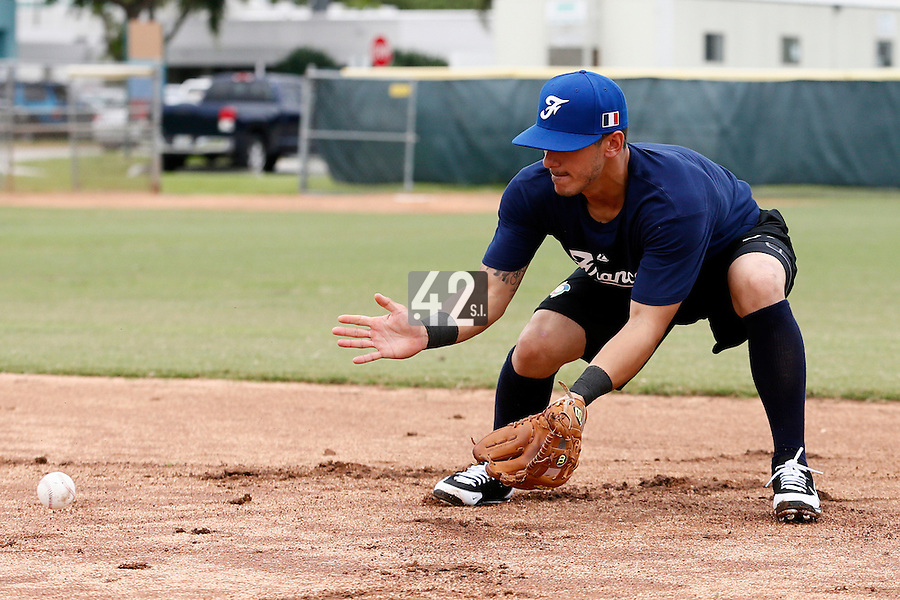 19 September 2012: France Maxime Lefevre warms up prior to Team France friendly game won 6-3 against Palm Beach State College, during the 2012 World Baseball Classic Qualifier round, in Lake Worth, Florida, USA.