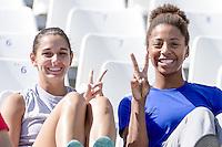 Pamela Ware Jennifer Abel CAN 3 m. springboard wommen supporting Canada Water POlo<br /> Water Polo Men Croatia (white) Vs. Canada (black) CRO-<br /> Kazan Water Polo ArenaCAN<br /> Day04 27/07/2015<br /> XVI FINA World Championships Aquatics <br /> Kazan Tatarstan RUS July 24 - Aug. 9 2015 <br /> Photo G.Scala/Deepbluemedia/Insidefoto