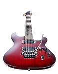 Red Ibanez S-series S420 electric guitar isolated at an angle on white background