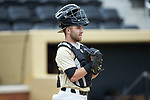 Wake Forest Demon Deacons catcher Logan Harvey (15) prior to the game against the Liberty Flames at David F. Couch Ballpark on April 25, 2018 in  Winston-Salem, North Carolina.  The Demon Deacons defeated the Flames 8-7.  (Brian Westerholt/Sports On Film)